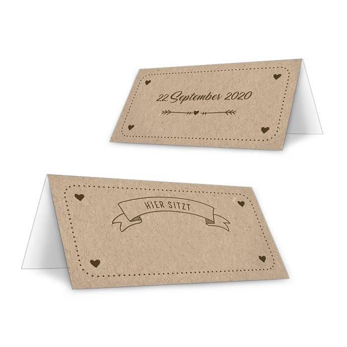 Tischkarte zur Hochzeit zum beschriften im Vintage Stil