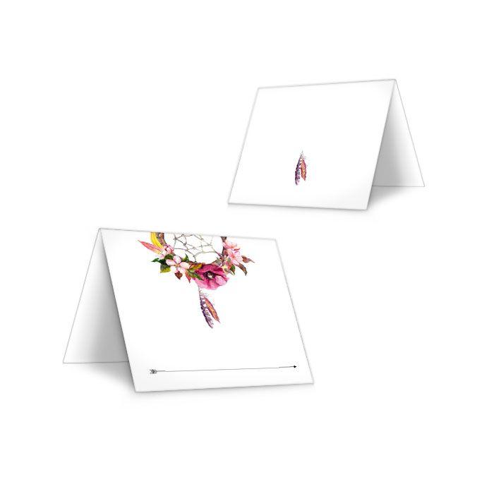 Tischkarten zur Hochzeit im Boho Stil mit Traumfänger Motiv
