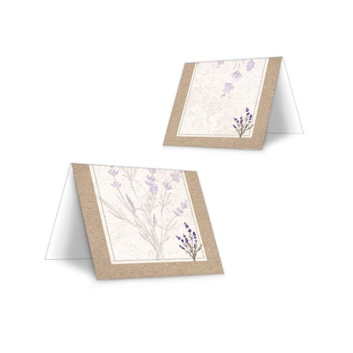 Tischkarte zur Hochzeit im Kraftpapierdesign mit Lavendel