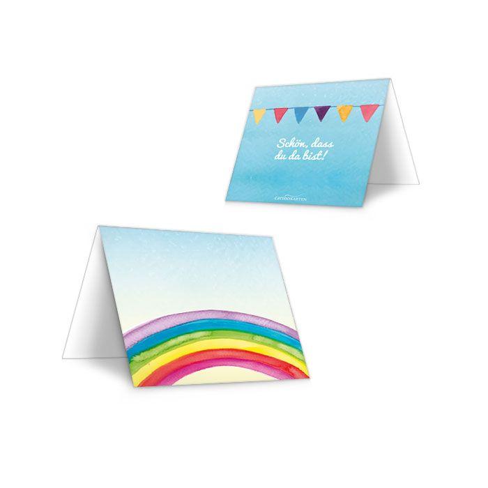 Tischkarte zur Kommunion und Konfirmation mit Regenbogen