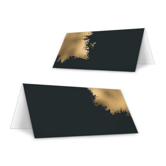 Tischkarten zur Hochzeit im Black and Gold Design zum Beschriften