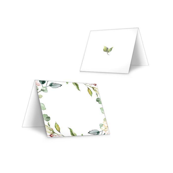 Tischkarten zur Hochzeit im Greenery Stil mit Blättern und Zweigen