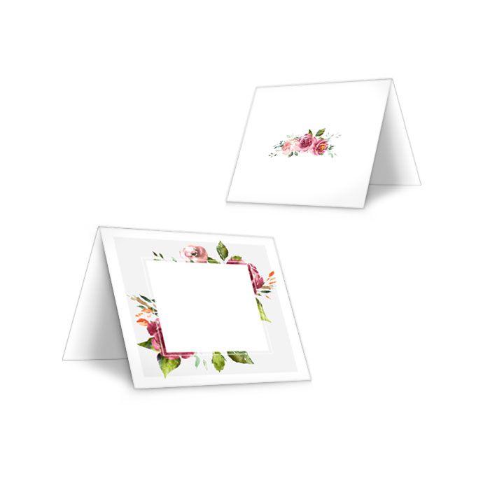 Tischkarten zur Hochzeit mit herbstlichen Aquarellblumen