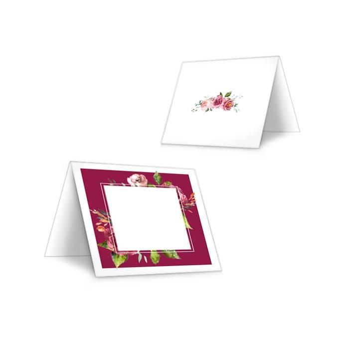 Tischkarten zur Hochzeit in Bordeaux mit herbstlichen Aquarellblumen