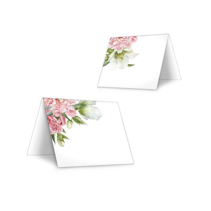 Tischkarten zur Hochzeit mit eleganten Pfingstrosen