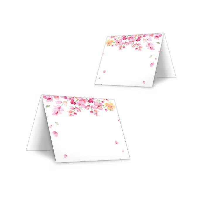 Tischkarten zur Hochzeit mit rosafarbenen Blüten