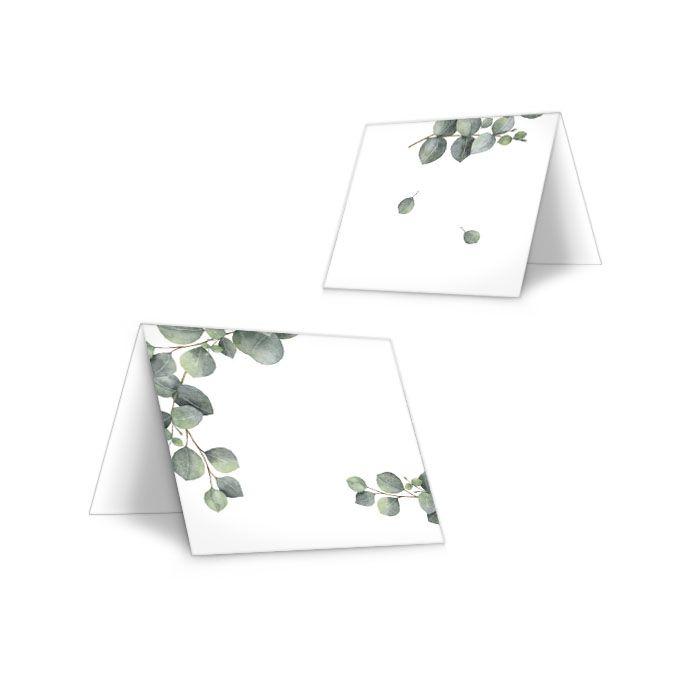 Tischkarten zur Hochzeit mit Eukalyptuszweig zum Beschriften