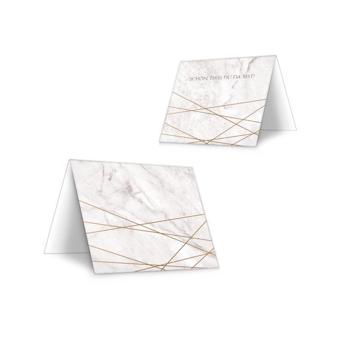 Tischkarten in Marmoroptik mit geometrischen Formen