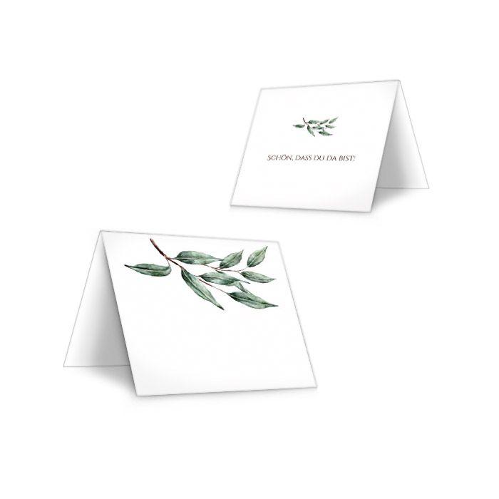 Tischkarten zur Greenery Hochzeit mit Olivenzweig
