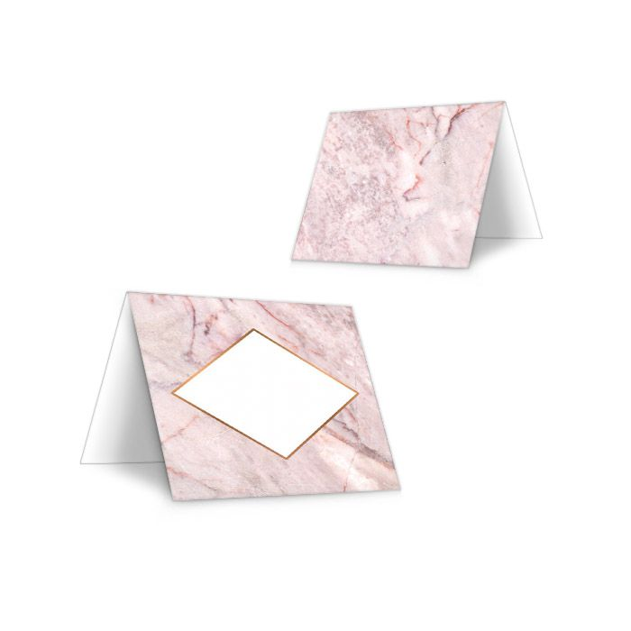 Tischkarten zur Hochzeit mit rosa Marmoreffekt zum Beschriften