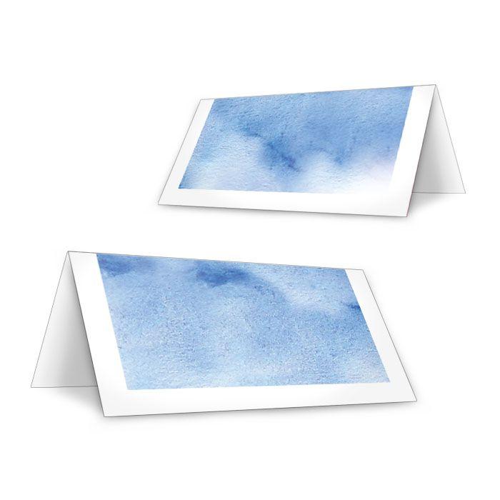 Tischkarten mit Watercolor in Blau zur Winterhochzeit