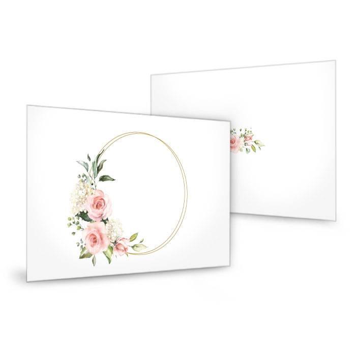 Tischkarten zur Hochzeit mit Goldreif und Aquarell Rosen