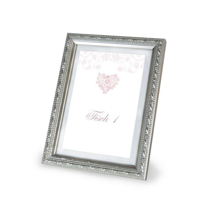 Tischkarte für Gruppentische zur Hochzeit mit Herz in Rosa