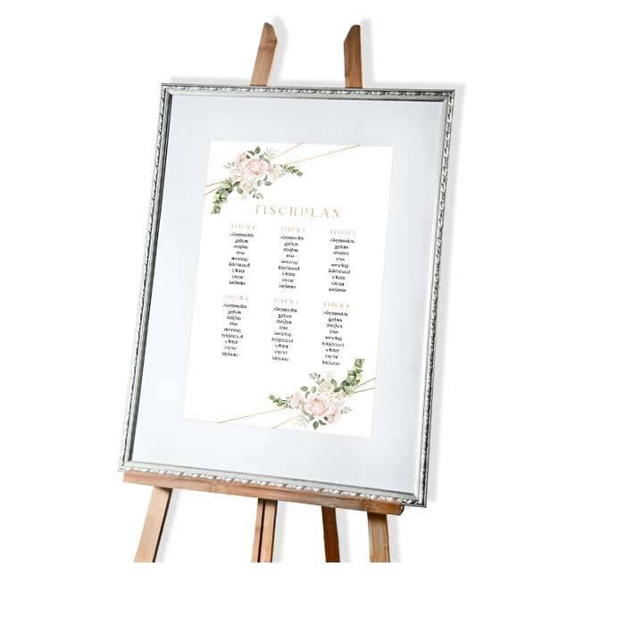 Großer Tischplan zur Hochzeit mit Aquarellrosen und Eukalyptus