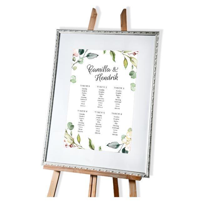 Großer Tischplan zur Hochzeit im Greenery Stil mit Blättern