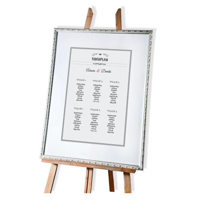 Großer Tischplan zur Hochzeit in Grau mit Ornamenten