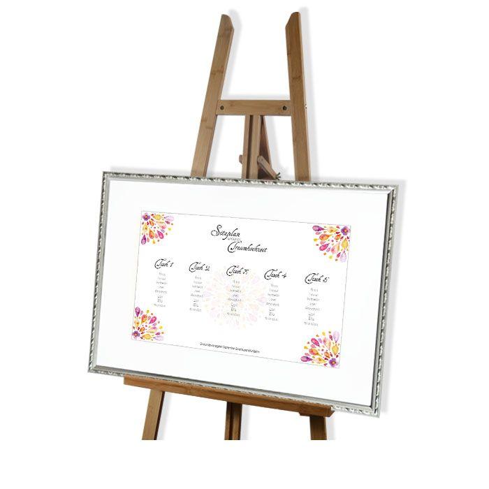 Großer Tischplan zur Hochzeit im bunten Aquarelldesign