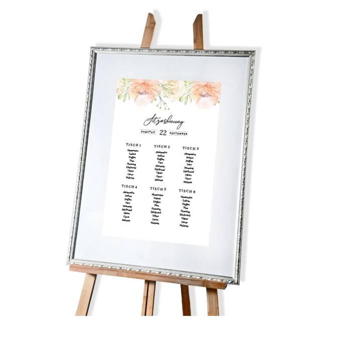 Tischplan mit Aquarellrosen in Blush