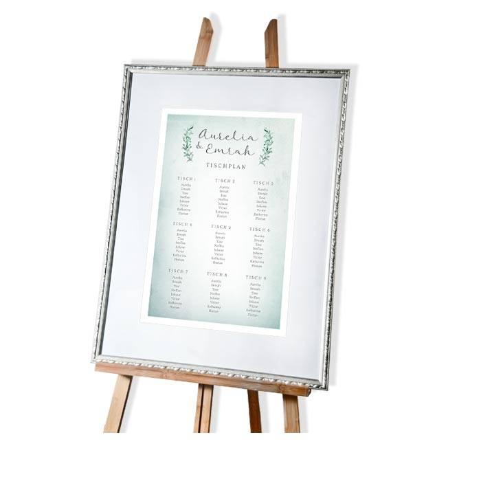 Tischplan zur Hochzeit im Greenery Watercolor Stil in Jadegrün