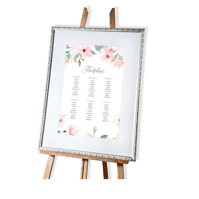 Großer Tischplan zur Hochzeit im pastellfarbenen Blumen Design