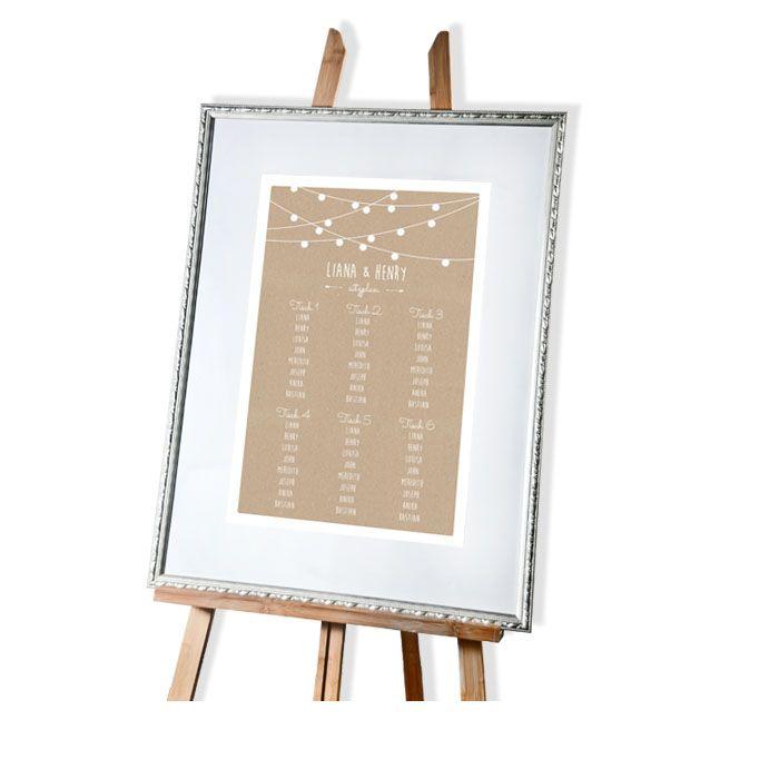 Tischplan zur Hochzeit in Kraftpapieroptik mit Lichterkette