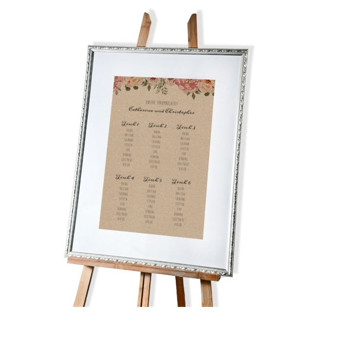 Tischplan mit Aquarellblumen in Kraftpapieroptik