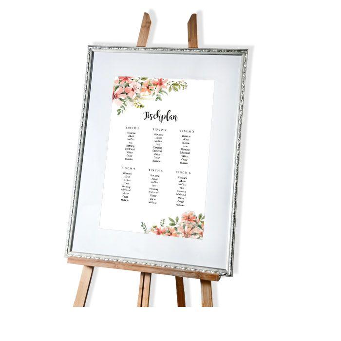 Vintage Tischplan zur Hochzeit mit Aquarellblumen in Lachs