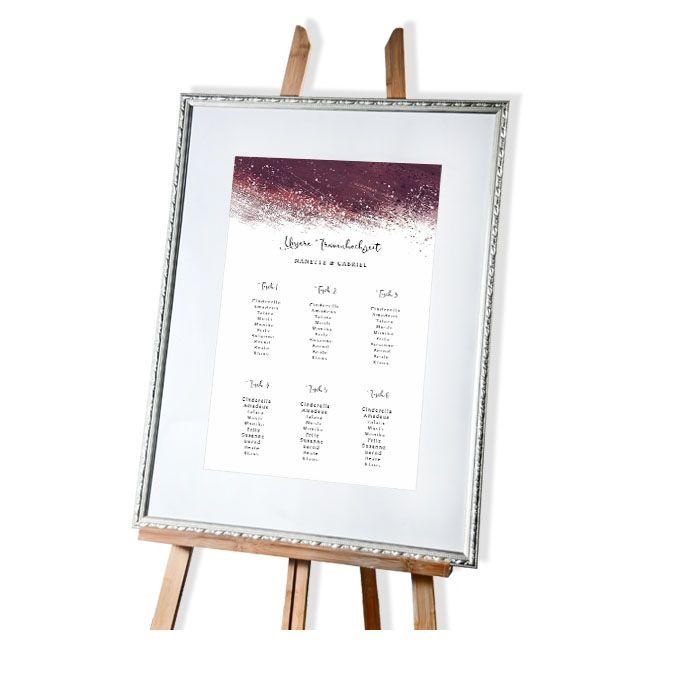 Großer Tischplan zur Hochzeit mit Aquarelldesign in Bordeaux
