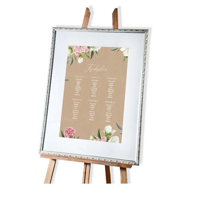 Tischplan zur Hochzeit in Kraftpapieroptik mit Pfingstrosen