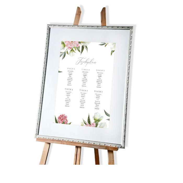 Großer Tischplan zur Hochzeit mit schönem Pfingstrosendesign