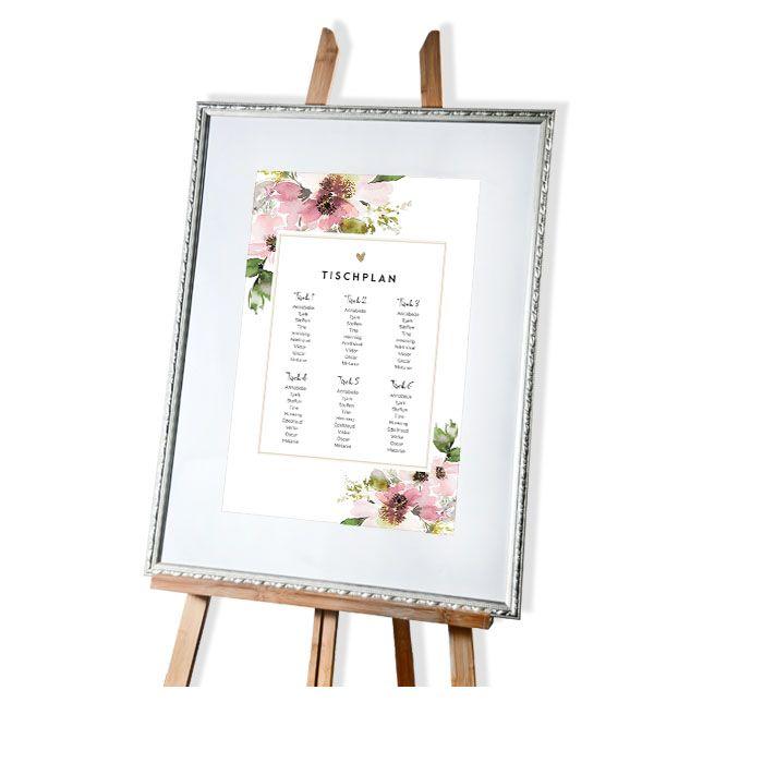 Großer Tischplan zur Hochzeit mit floralem Aquarelldesign