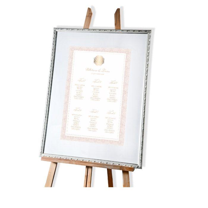 Tischplan zur Hochzeit in Rosé mit goldenem Ornament
