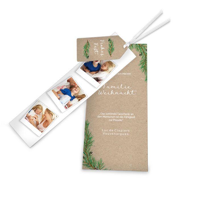 Weihnachtskarte als Kartenset mit Fotostreifen und Tannenzweigen