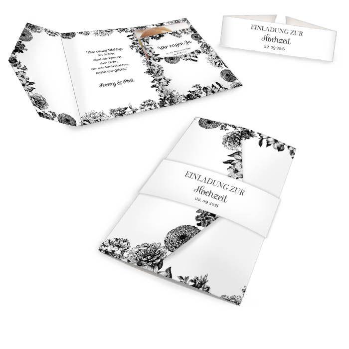 Hochzeitseinladung als Pocket Fold in Schwarz mit Blumen