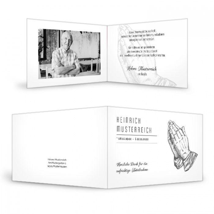 Trauerdanksagung mit betenden Händen und Foto