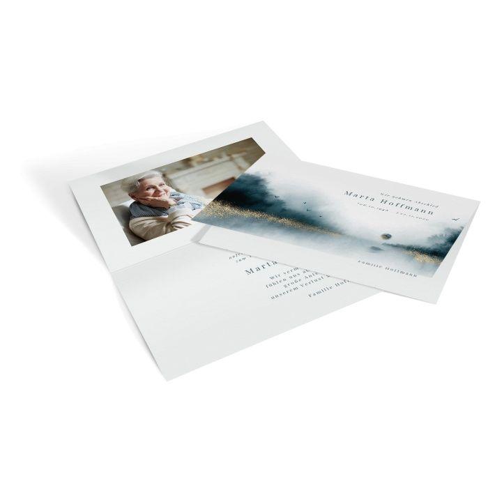 Trauerdanksagungskarte mit Aquarell Landschaft und Erinnerungsfoto