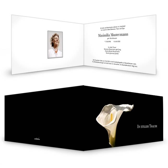 Trauerkarte in Schwarz mit weißer Calla-Lilie