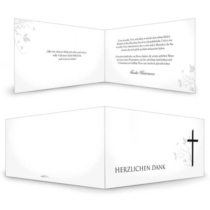 Schlichte Trauerkarte mit Kreuz und floralem Muster