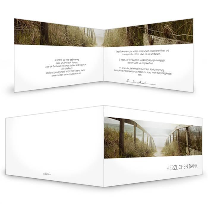 Stilvolle Trauerkarte mit Weg durch Dünenlandschaft