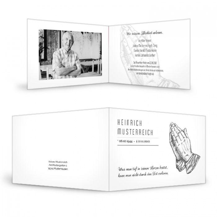 Trauerkarte mit betenden Händen und Foto