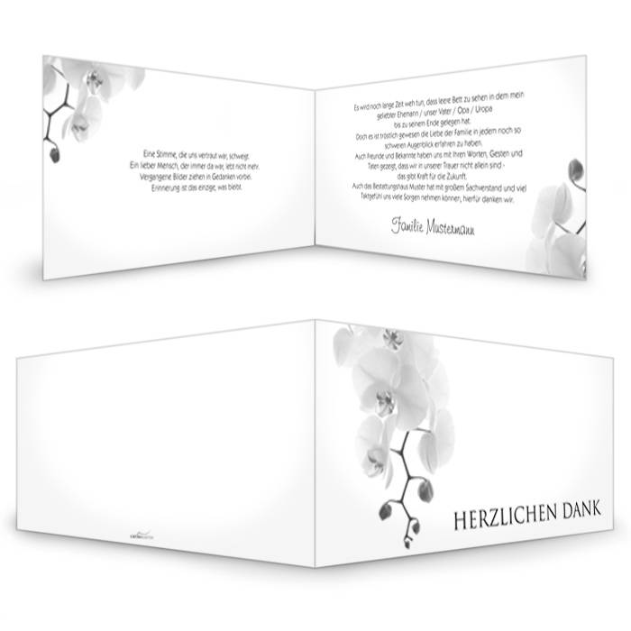 Schlichte Trauerkarte mit weißer Orchidee