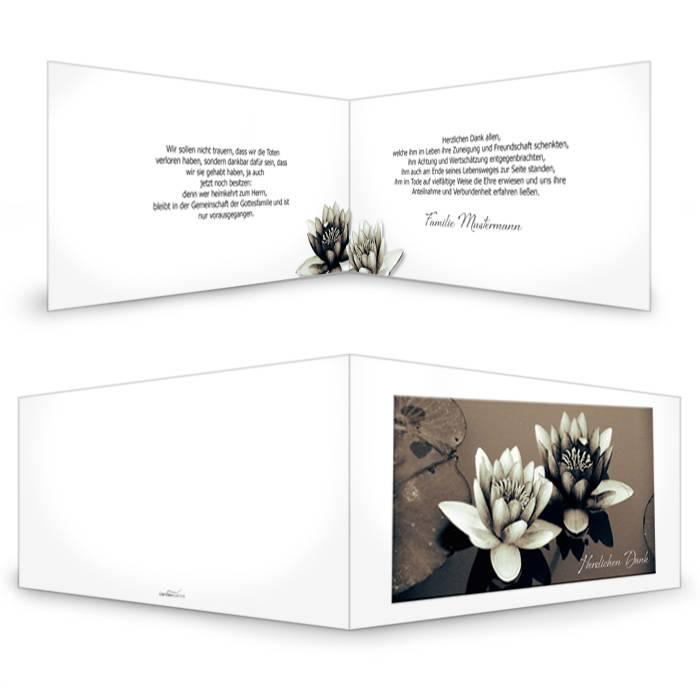 Trauerkarte mit Seerosen-Motiv in Sepia selbst gestalten