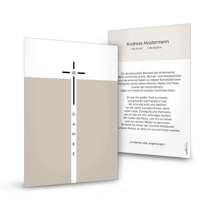 Elegante Trauerkarte mit schmalen Kreuz