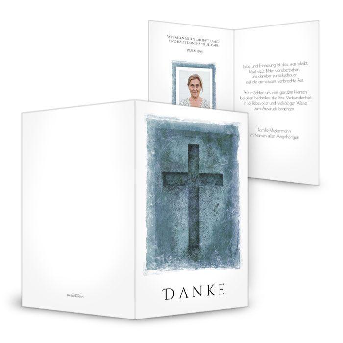 Trauerkarte mit Kreuz im Vintagestil Grau und Blau
