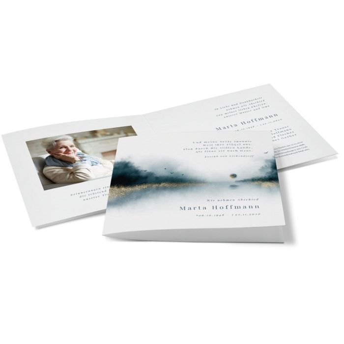 Trauerkarte mit Aquarell Landschaft und Erinnerungsfoto