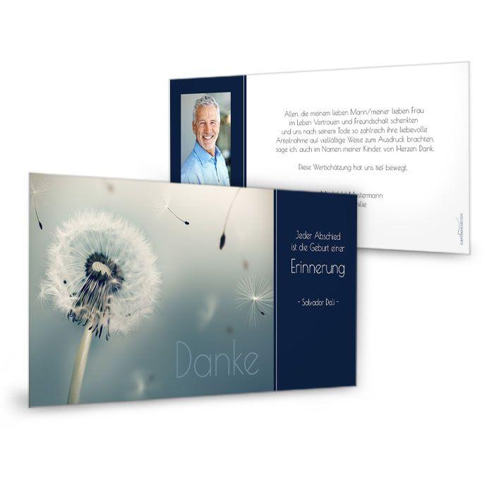 Trauerkarte mit Pusteblume und Foto in Dunkleblau
