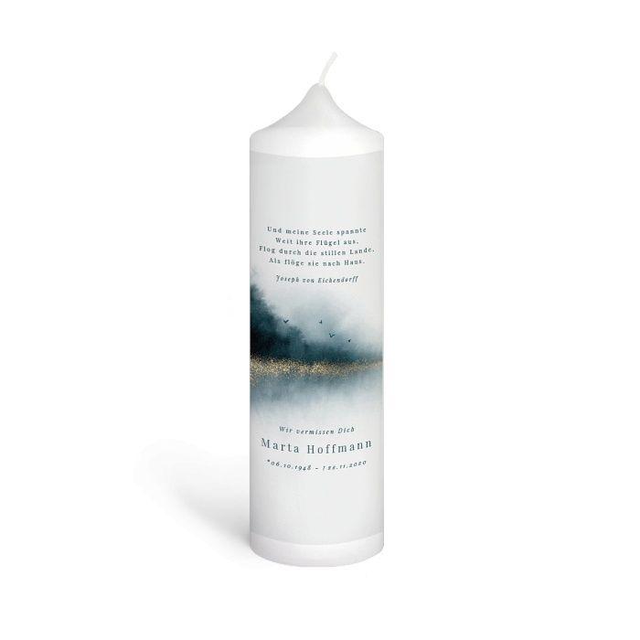 Trauerkerze mit Aquarell Landschaft als Erinnerung