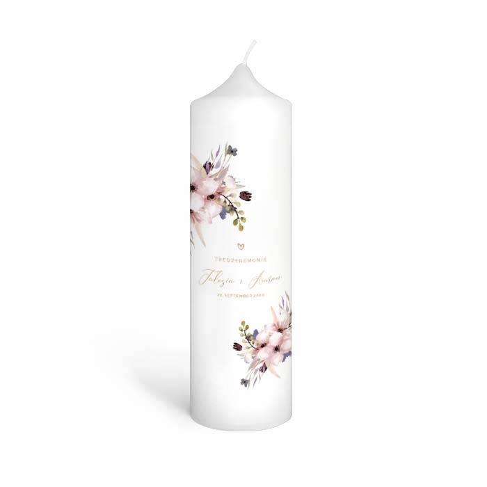 Traukerze mit Aquarellblumen in rosa - Talesia und Aaron