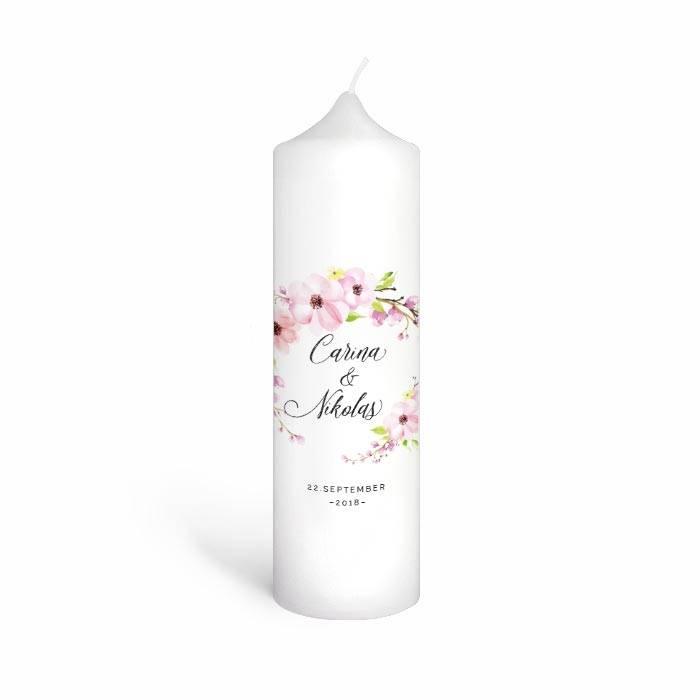 Traukerze mit Blütenkranz in Rosa