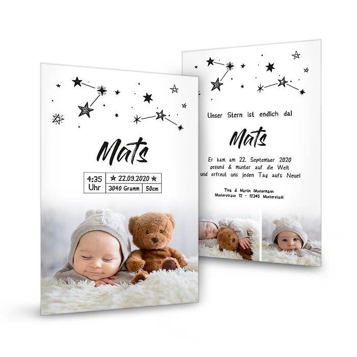 Trendige Postkarte zur Geburt mit Sternenhimmel